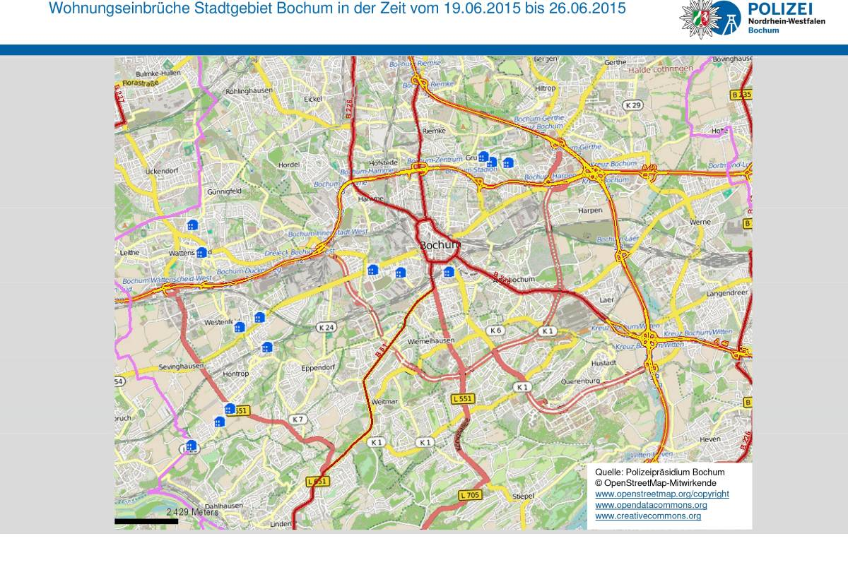Bochum Karte.Polizei Veröffentlicht Neuen Wohnungs Einbruchs Radar Waz De