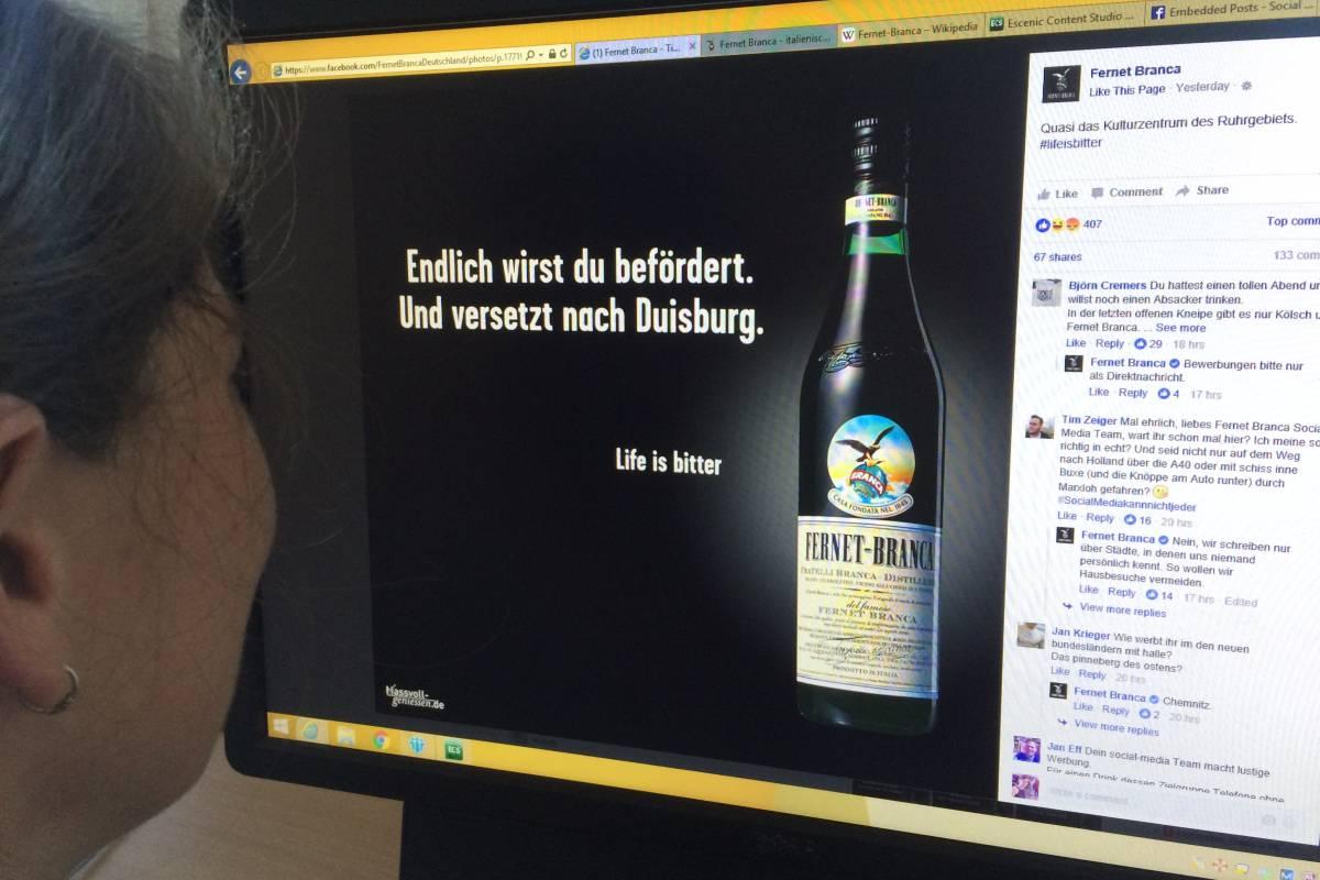 be41b28faa2e5 Fernet Branca nimmt mit Facebook-Werbung Duisburg aufs Korn   waz.de ...
