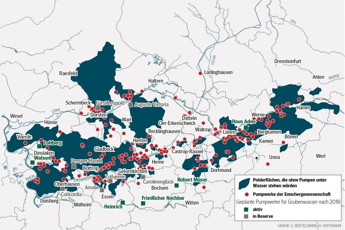 Grundwasserstand Karte Nrw.Warum Das Ruhrgebiet Ohne Pumpen Eine Seenplatte Wäre Waz De