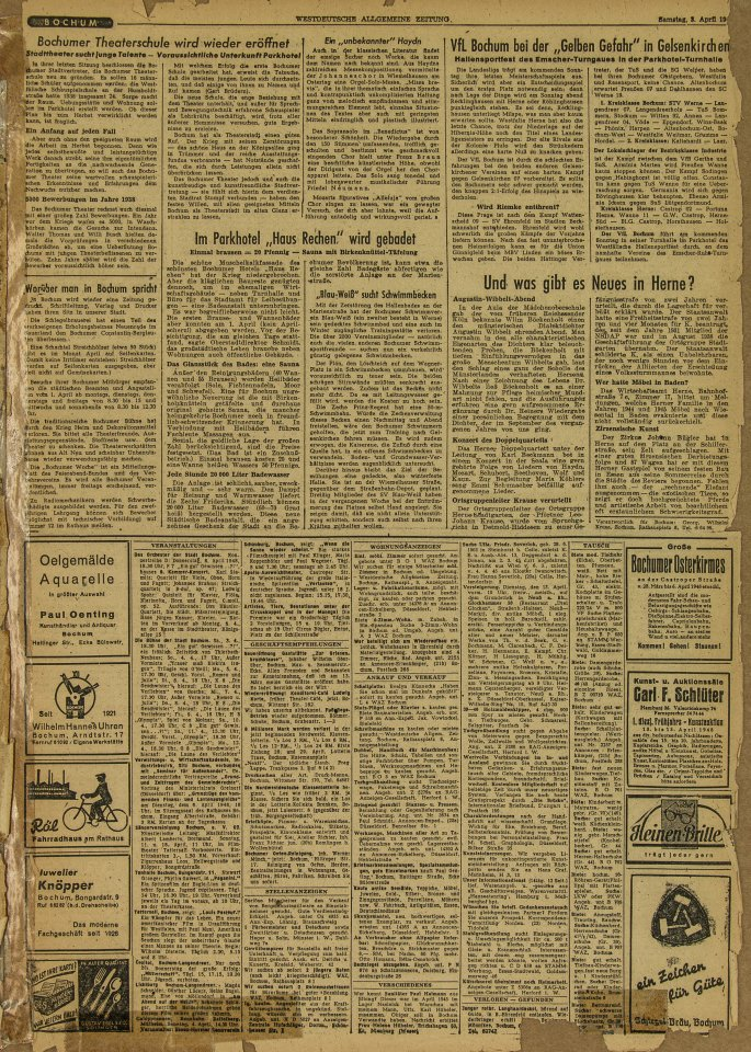 Der Bochumer Lokalteil der ersten WAZ vom 3. April 1948. WAZ-Seiten wie diese finden Sie zu 70 Bochumer Ereignissen ab 1948 auf Bochum70.waz.de. Dort können Sie die Seiten auch vergrößern und Zeile für Zeile lesen.