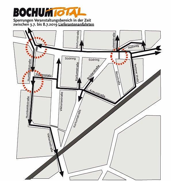 An diesen Stellen gibt es in Bochum während des Festivals Straßensperrungen.
