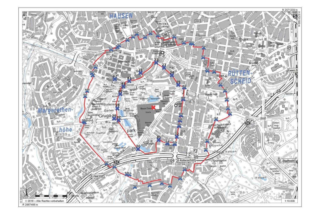 Die Stadt Essen hat diese Karte veröffentlich. Anwohner im inneren Bereich müssen ihre Wohnungen verlassen. Anwohner im äußeren Bereich müssen während der Entschärfung in ihren Wohnungen bleiben. Sie sollten Räume aufsuchen, die vom Fundort der Bombe abgewandt liegen, oder alternativ in einen Kellerraum gehen.